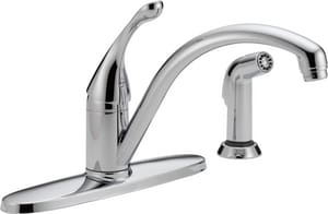 Delta Faucet Collins™ 1.8 gpm 8 in. Single-Handle 4-Hole Deck Mount Kitchen Sink Faucet 180° Swivel Spout 3/8 in. Compression Connection D440DST