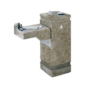Haws Freeze Resistant Concrete Pedestal Drinking Fountain in Grey H3150FR