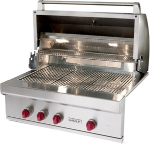 Wolf Range 64000 BTU 4-Burner Built-In Grill in Stainless Steel WOG36