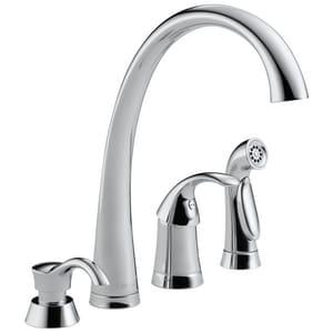 Delta Faucet Pilar® 1.8 gpm Single Lever Handle Deckmount Kitchen Sink Faucet 180 Degree Swivel Spout in Polished Chrome D4380SDDST