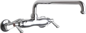 Chicago Faucet 2.2 gpm 12 in. 2-Handle Wall Mount Kitchen Sink Faucet Swing Spout IPS Connection C445L12E1ABCP