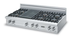 Viking Range 48 in. 6-Burner Gas Rangetop With Grill in Stainless Steel VVGRT5486QSS