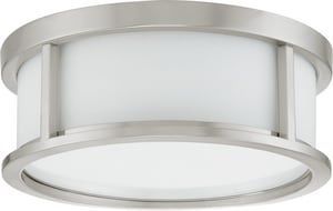 Nuvo Lighting Odeon 2 Light 60W 13-1/8 in. Satin White Glass Flush Mount N602859