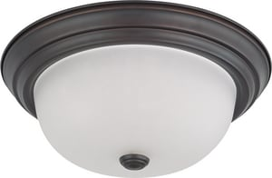 Nuvo Lighting 8 in. 60 W 2-Light Flush Mount Ceiling Fixture with Frosted White Globe in Mahogany Bronze N603146