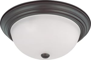 Nuvo Lighting 15 in. 60 W 3-Light Flush Down Lighting Mount Ceiling Fixture with Frosted White Globe in Mahogany Bronze N603147
