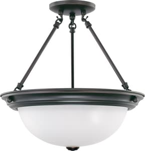 Nuvo Lighting 15 in. 60 W 3-Light Semi-Flush Mount Ceiling Fixture with Frosted White Glass N603151