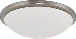 Nuvo Lighting Button 17 in. 13 W 4-Light Button Energy Smart Flush Mount with GU24 Included in Brushed Nickel N602947