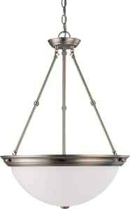 Nuvo Lighting 20 in. 120 V 3-Light Pendant with Frosted White Glass in Brushed Nickel N603248
