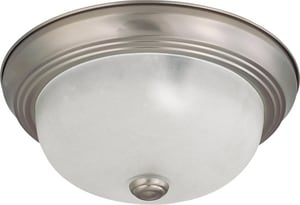 Nuvo Lighting 11 in. 60 W 2-Light Incandescent Flush Mount Ceiling Fixture with Frosted White Gl in Brushed Nickel N603261
