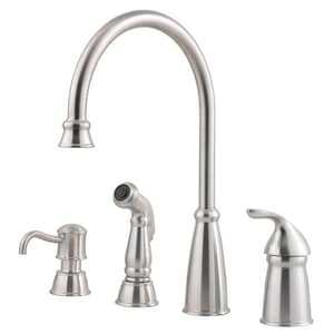 Pfister Avalon™ 2-1/4 in. 4-Hole Kitchen Faucet with Single Lever Handle PGT264CB