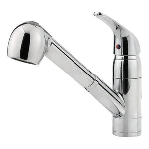 Pfister 1.8 gpm 8 in. Single-Handle Deck Mount Kitchen Sink Faucet 360° Swivel Pull Out Spout 1/2 in. NPSM Connection PG13310