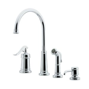 Pfister Ashfield™ 2.2 gpm Single Lever Handle Deckmount Kitchen Sink Faucet 360 Degree Swivel High Arc Spout 1/2 in. NPSM Connection PGT264YP