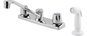 Pfister 1.75 gpm Double Knob Handle Kitchen Faucet with Spray in Polished Chrome PG1354000