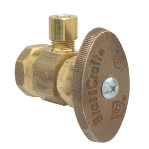 Brass Craft OR07 Series 1/2 in x 1/4 in Knurled Handle Angle Supply Stop Valve BOR07X