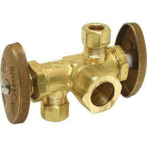 Brass Craft OD Compression x MIP Dual Straight Supply Stop Valve BCR1901DVXC