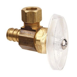 Brass Craft 1/2 x 3/8 in. Nom Crimp Barbed x Compression Angle Supply Stop Valve BBRPX19XR