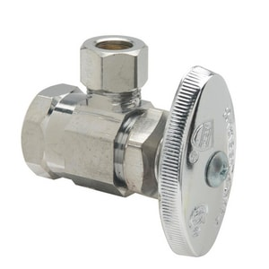 Brass Craft 1/2 x 3/8 in. FIP x OD Compression Angle Supply Stop Valve in Polished Chrome BOR17ZX