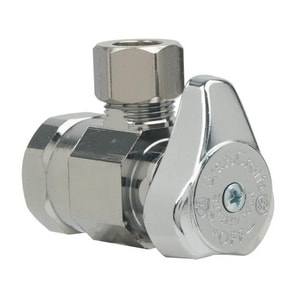Brass Craft 1/2 in. FIP x 3/8 in. OD Compression 1/4 Turn Angle Supply Stop Chrome BG2R17XC