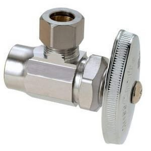 Brass Craft R19 Series 1/2 in x 3/8 in Knurled Handle Angle Supply Stop Valve in Chrome Plated BR19XC