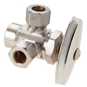 Brass Craft 1/2 x 3/8 in. Nom Sweat x OD Compression Angle Supply Stop Valve in Chrome Plated BR1901LRXC1