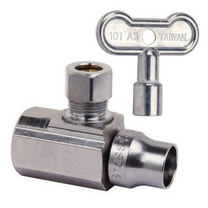 Brass Craft 1/2 x 3/8 x 2-1/5 in. in. Compression Turn Angle Ball Stop Valve with Loose Key BKTSR17XC