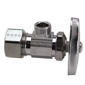 Brass Craft 1/2 in x 3/8 in. Compression Angle Stop Valve in Polished Chrome BOCR19L1XCB