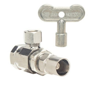 Brass Craft 1/2 x 3/8 in. 140# 125 psi FIP x OD Compression Angle Supply Stop Valve with Stufing Box BSTR17XC