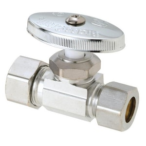 Brass Craft 1/2 in. Nom Comp Inlet x 1/2 in. OD Comp Outlet Multi Turn Straight Stop BOCR34X