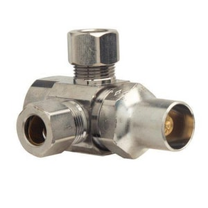 Brass Craft 1/2 x 3/8 in. FIP x Od Compression Dual Outlet Multi-Turn Straight Supply Stop Valve BSR1701LRXC1
