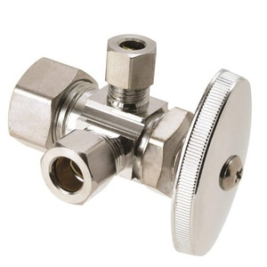Brass Craft 1/2 x 3/8 in. Nom Compression x OD Compression Dual Outlet Shut-Off Valve BCR1900RX1