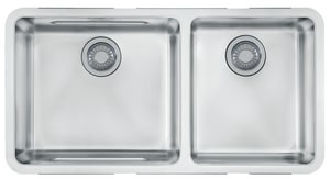 Franke Consumer Products Kubus 34-5/8 x 17-1/3 in. Double Bowl Undermount Kitchen Sink Stainless Steel FKBX12034