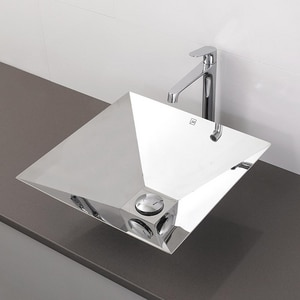 Deco Lav Simply Stainless™ 1-Bowl Square Pipeolet Vessel D1285P