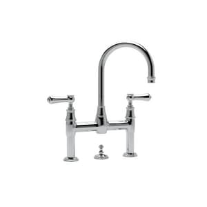 Rohl Perrin & Rowe® 2-Hole Deckmount Widespread Lavatory Faucet with Double Metal and Porcelain Lever Handle RU3708LSP2