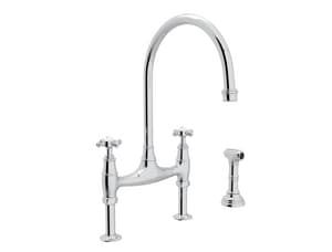 Rohl Perrin & Rowe® 16-3/8 in. 3-Hole Bridge Kitchen Sink Faucet with Double Cross Handle RU4718X2