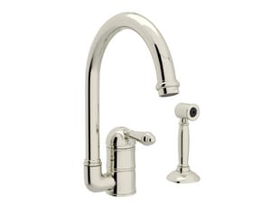 Rohl Country 2-Hole C-Spout Faucet with Sidespray and Single Lever Handle RA3606LMWS2