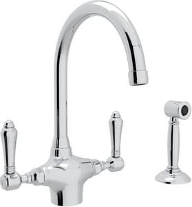 Rohl Country Kitchen 1-Hole Kitchen Faucet with Side Spray and Double Lever Handle RA1676LMWS