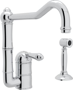 Rohl Country 2-Hole Column Spout Faucet with Sidespray and Single Lever Handle RA3608LMWS2