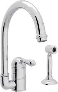 Rohl Country Kitchen 1-Hole Column Spout Kitchen Faucet with Single Metal Lever Handle and Sidespray RA3606LMWS2