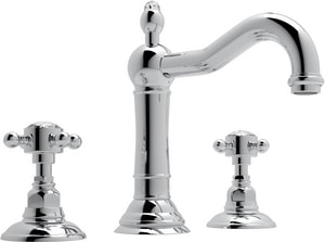 Rohl Acqui 3-Hole Deckmount Widespread Lavatory Faucet with Double Crystal Cross Handle RA1409XC2