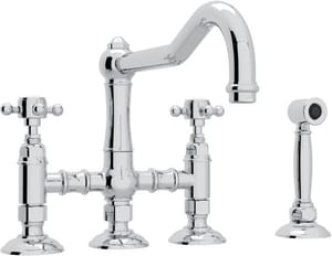 Rohl Country Kitchen 3-Hole 3-Leg Bridge Kitchen Faucet with Sidespray and Double Cross Handle RA1458XMWS2