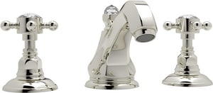 Rohl Country Bath 2-Hole Deckmount Widespread Lavatory Faucet with Double Crystal Cross Handle RA1808XC2