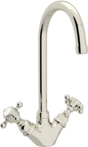 Rohl Country Kitchen 7-53/64 in. 1-Hole C-Spout Deck Mount Bar Faucet with Double Cross Handle RA1467XM2