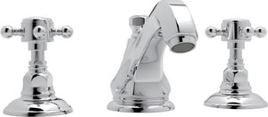 Rohl Hex 2-Hole Deckmount Widespread Lavatory Faucet with Double Metal Cross Handle RA1808XM2