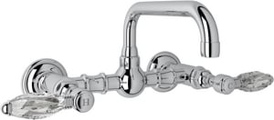 Rohl Country Bath 2-Hole Wall Mount Bridge Lavatory Faucet with Double Crystal Lever Handle RA1423LC2