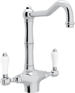 Rohl Country Kitchen 1.5 gpm Double Lever Handle Deckmount Kitchen Sink Faucet Column Spout IPS Connection RA1679LP2