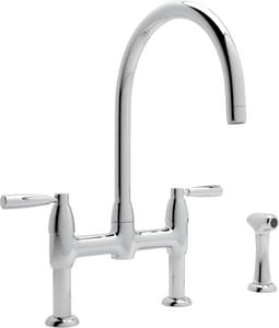 Rohl Perrin & Rowe® Kitchen 3-Hole Bridge Kitchen Faucet with Sidespray and Double Lever Handle RU4273LS2