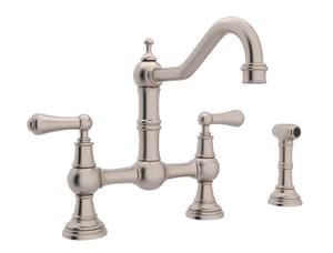 Rohl Perrin & Rowe® 1.8 gpm 8 in. 2-Handle 3-Hole Deck Mount Kitchen Sink Faucet Column Spout RU4756L