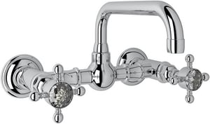 Rohl Country Bath 2-Hole Wall Mount Bridge Lavatory Faucet with Double Crystal Cross Handle RA1423XC2