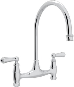 Rohl Perrin & Rowe® 2-Hole Double Lever Handle Bridge Kitchen Faucet RU4791L2