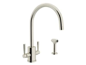 Rohl Perrin & Rowe® 1-Hole C-Spout Kitchen Faucet with Sidespray and Double Lever Handle RU4312LS2